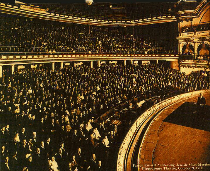Pastor Charles T. Russell on stage of the NYC Hippodrome Theater